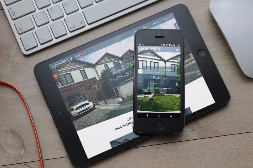 picture of Domar Development real estate marketing Responsive Website shown on an iphone and ipad