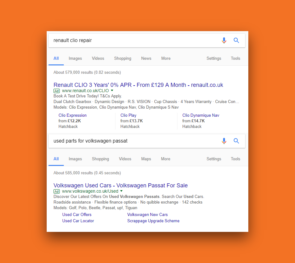 screenshot of two google ads showing to wrong search terms due to lack of negative keywords