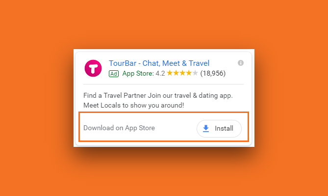 Snapshot of a Google Ad with a app download extension for a TourBarr mobile app