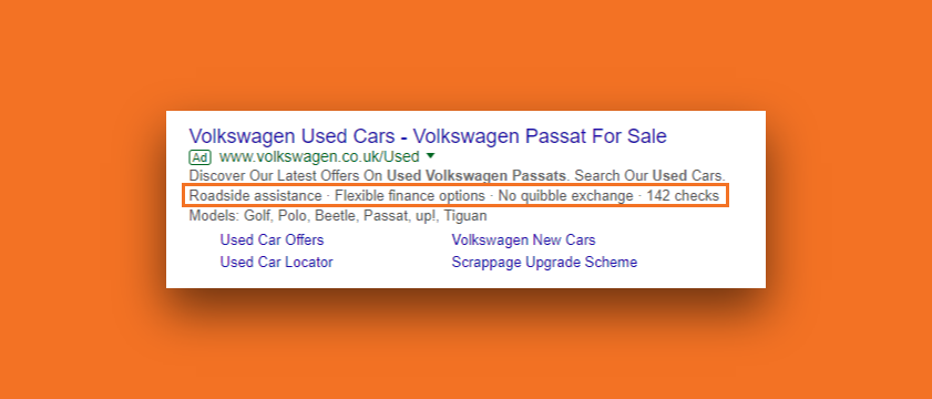 Snapshot of a volksvagen ad in Google Ads with the use of callout extensions