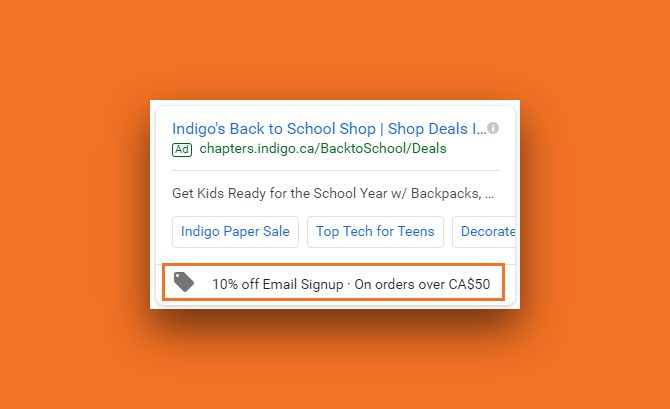 Snapshot taken from Google Ads of an Canadian ecommerce Indigo's search ad with promotion extension