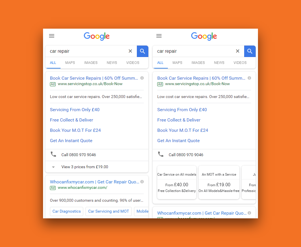 Snapshot of a Google Ads search ad with multiple extensions in place