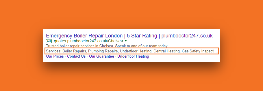 A snapshot of Google Ads for a plumbing services with the use of structured snippet extensions